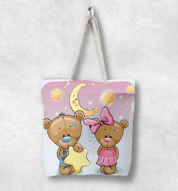 Başka bir sevimli komik ayılar pembe sarı yıldız yeni moda beyaz halat kolu kanvas çanta karikatür baskı fermuarlı Tote çanta omuzdan askili çanta