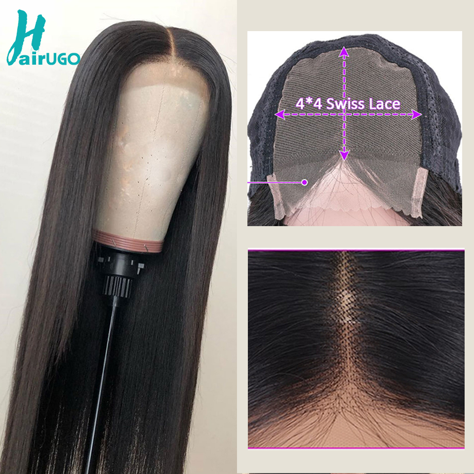 Hairugo Closure Wigs Human-Hair Lace Pre-Plucked Straight Black-Women Peruvian 4x4  title=