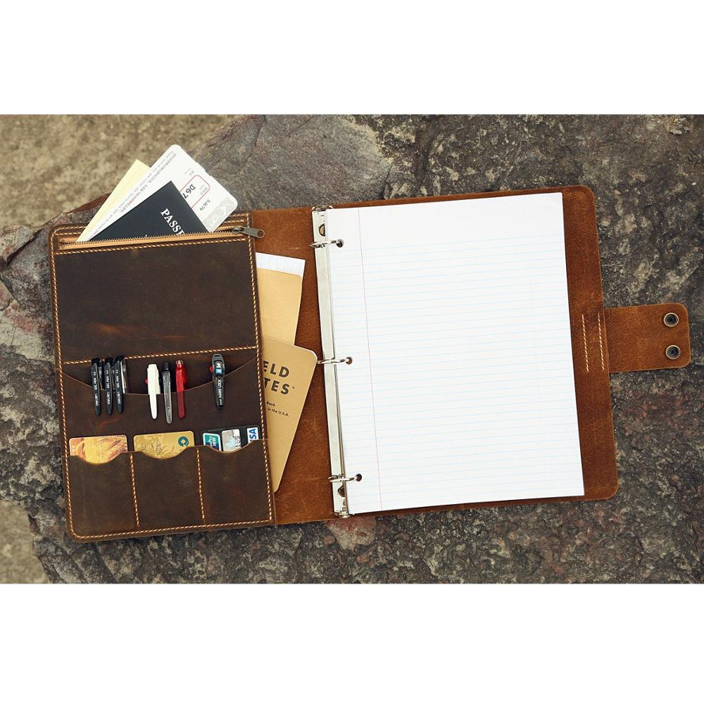 Personalized leather 3 ring binder portfolios with pockets and writing pad / 8.5 x 11 letter size leather padfolio organizer(China)