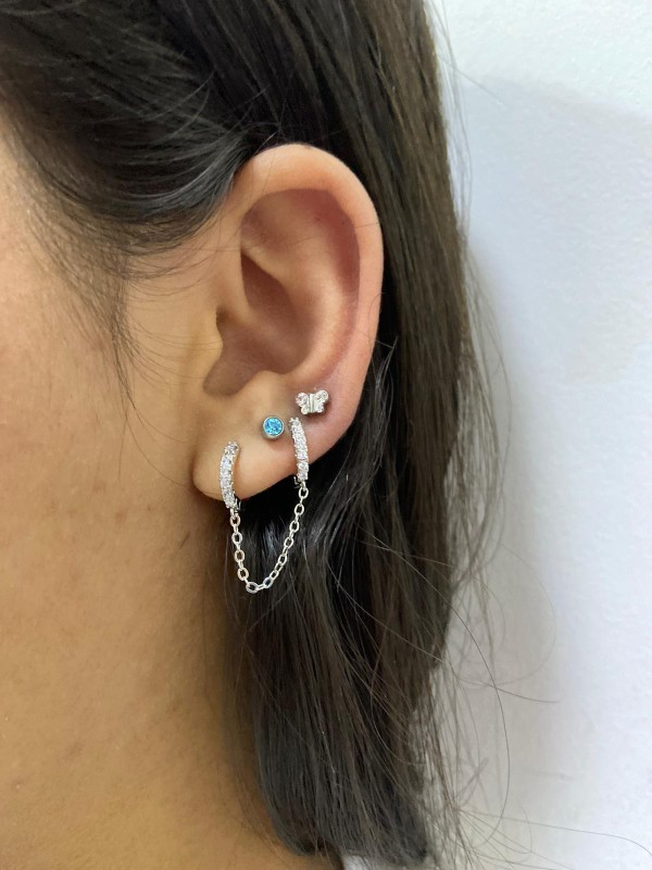 Huitan One PCS Hot Sale Two Hole Piercing Earrings for Women Brilliant Crystal Zircon 3 Metal Color Chain Earring Party Jewelry photo review