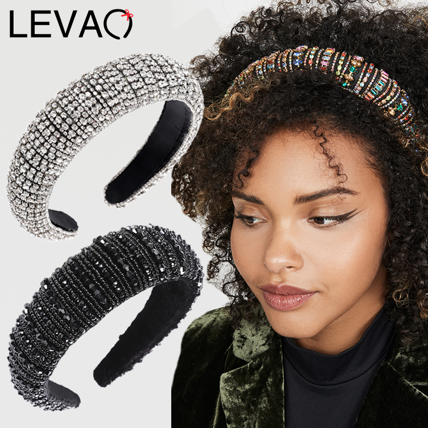 LEVAO Baroque Rhinestone Padded Headband Hairband For Women Shiny Crystal Wide Thick Hair Hoop Head Bezel Wrap Hair Accessories