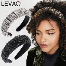 LEVAO barokowy Rhinestone wyściełany pałąk Hairband dla kobiet błyszczące kryształowe szerokie grube włosy Hoop głowy Bezel włosy owinięcie akcesoria