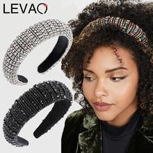 Обруч для волос LEVAO в стиле барокко Стразы, обруч с подкладкой, обруч для волос с блестящими кристаллами, широкий толстый обруч для волос, ободок, аксессуары для волос