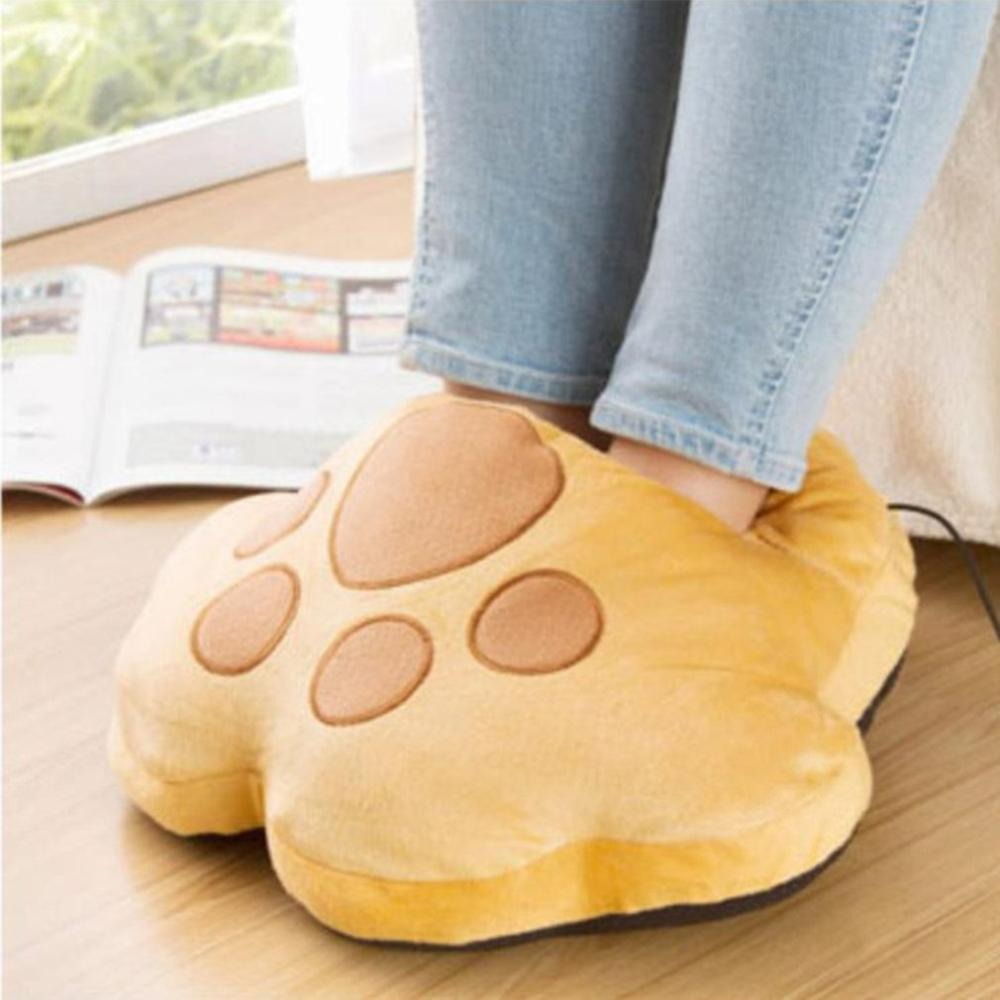 Cartoon Plush Cat Claw Warm Foot Super Soft Hand Warmers Removable Washable USB Electric Heating Home Soft Cute Shoes