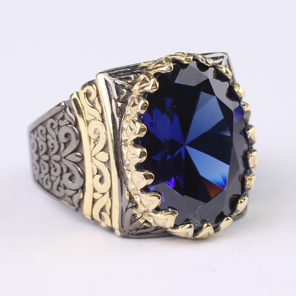 Man 925 Silver Oval Darkness Tanzanite Handmade Ring,  Blue Tanzanite 925 Silver Ring 18 K Gold and Rhodium Plated Ring