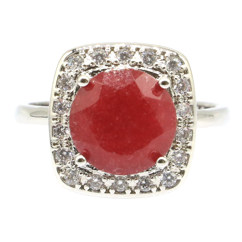 Luxe 22x18mm Big Ovale Gemme Rouge Sang ruby Silver ring US 7#