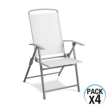 Pack 4 folding chairs of white textile and steel structure gray GH91