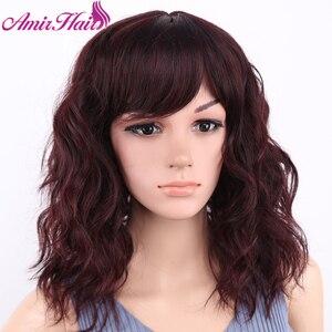 Image 2 - アミールブロンドカーリー合成かつら送料無料でサイド前髪ミディアムの長さ耐熱ファイバーコスプレウィッグアフリカアメリカの女性