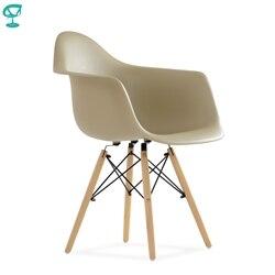 95750 Barneo N-14 пластиковое кухонное кресло на деревянном основании цвет капучино интерьерное кресло мебель для кухни обеденный кресло для гост...