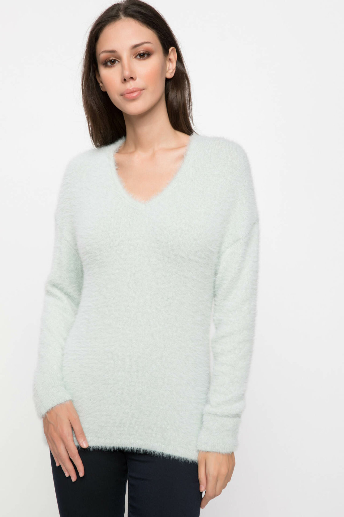 DeFacto Women Casual V-neck Pullover Sweatshirt Fashion Solid Pullover Long Sleeve Simple Sweatshirts Knitted Tops-J2890AZ18WN