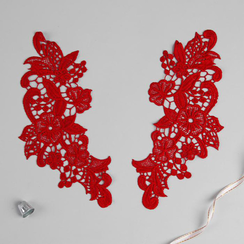 3576283 Appliques Sewing Lais Polyester 26*10 Cm Red