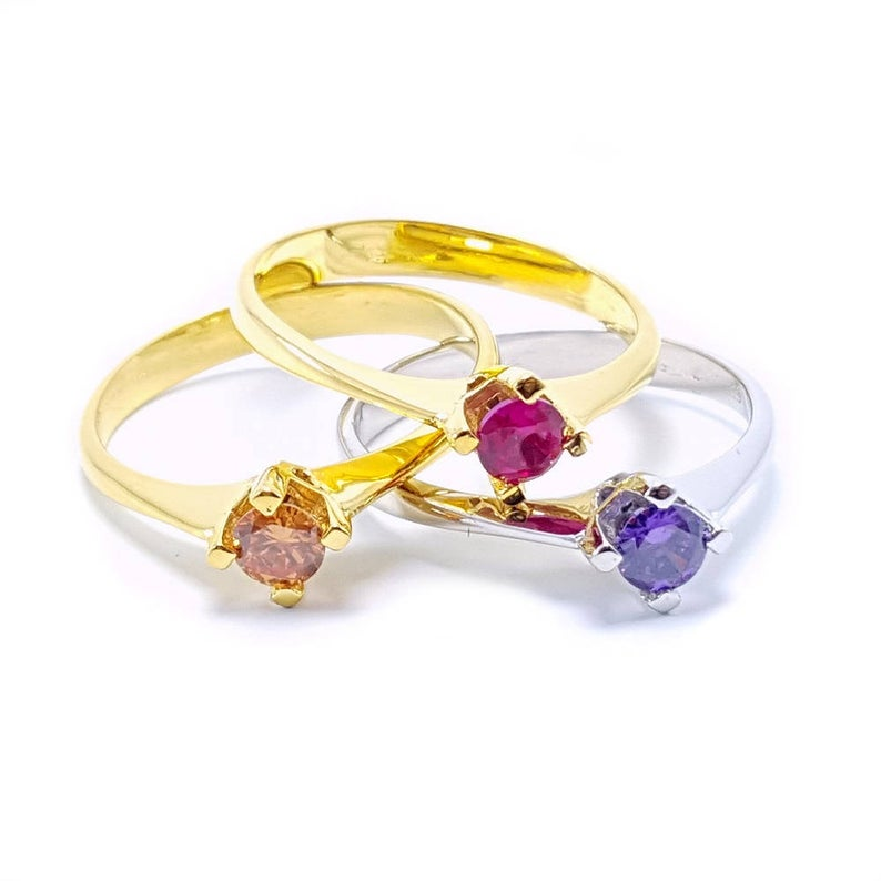 Gold Birthstone Ring - Solitaire Ring - Dainty Birthstone Ring - Wedding Promise Anniversary Gold Ring Please send your desired