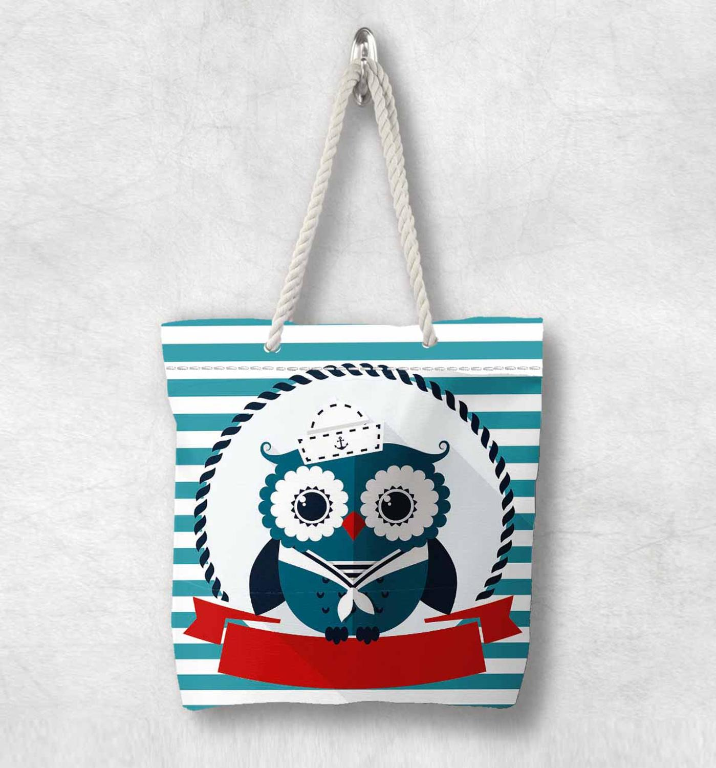 Else Blue Lines Cute Sailor Sea Owls New Fashion White Rope Handle Canvas Bag  Cartoon Print Zippered Tote Bag Shoulder Bag