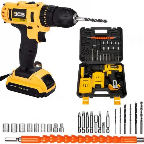 JCB Pro Plus Hammer 36 V 5 AH Sjs Metal Transmission Double Cordless 27 Piece Set Gift Rechargeable Drill