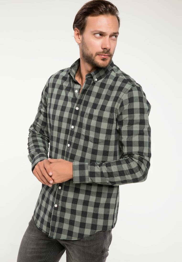 DeFacto Men Classic Red Blue Plaid Pattern Shirt Casual Long Sleeve Loose Male Autumn Grid Shirt-I9616AZ18AU