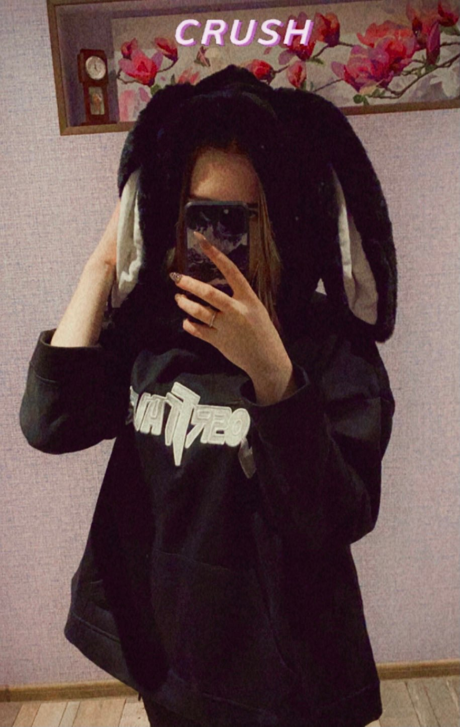 VOOCIEC Autumn Gothic Harajuku Style Couple Hoodie Cute Rabbit Ear Pullover Fashionable Loose Slim Long Couple's Preppy Coath photo review