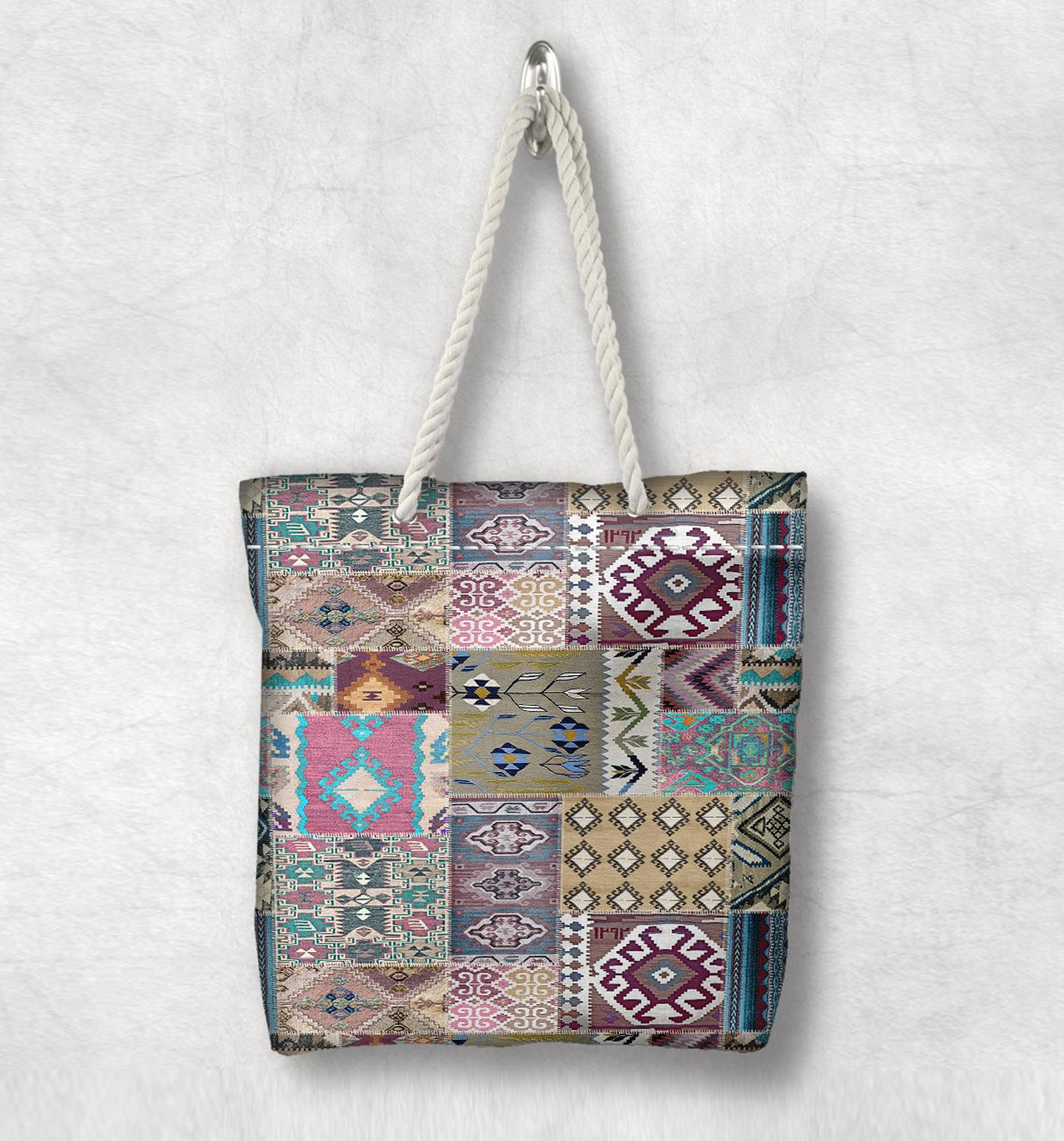 Else Blue Gray Patchwork Kilim Design Anatolia Antique White Rope Handle Canvas Bag Cotton Canvas Zippered Tote Bag Shoulder Bag