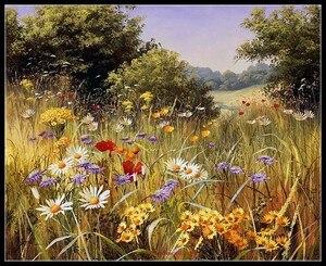 Image 1 - Geteld Borduurpakketten Handwerken Borduren Ambachten 14 ct Aida DMC Kleur DIY Arts Handgemaakte Interieur Zomer wildflowers