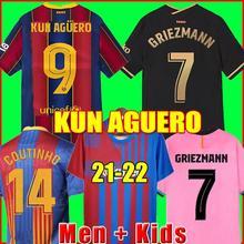 KUN AGUERO Barcelona soccer jersey Camisetas de football shirt MESSI BARCA 20 21 22 ANSU FATI 2021 2022 GRIEZMANN F.DE JONG kids
