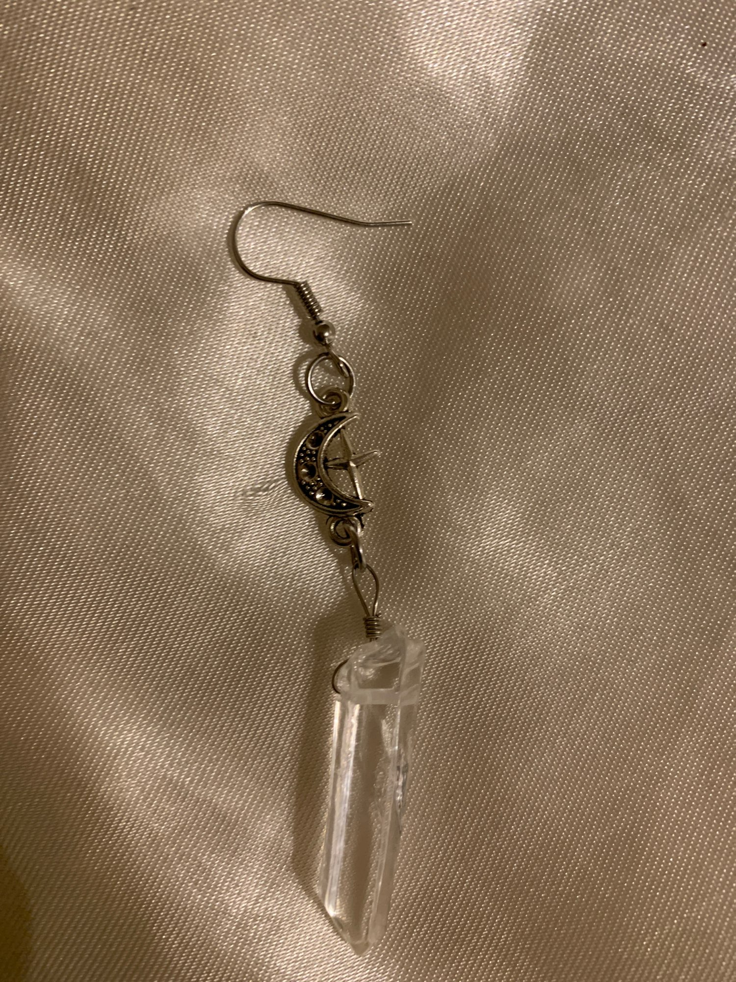 E-girl E-boy Gothic Clear Quartz and Crescent Moon Earrings photo review