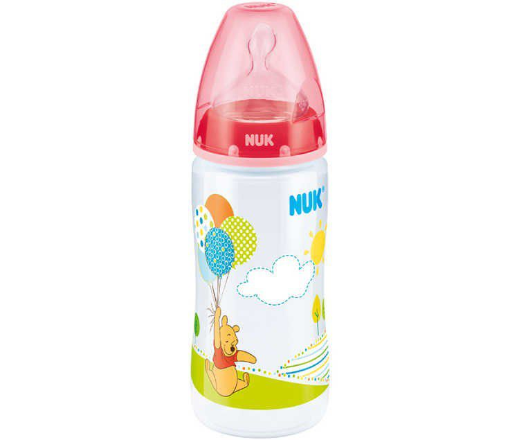 NUK First Choice Plus Orthodontic Drinking Bottle, Disney Winnie PP - Silicone 0-6 Months 300 Ml. Medium Feed Hole