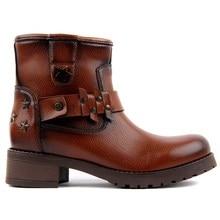 Moxee タン革の女性のブーツ秋の冬のブーツの靴ファッションラウンドつま先ジッパー戦闘女性の靴、カジュアル春女性のアンクルブーツサイズ 36 40 2019 ホットな新
