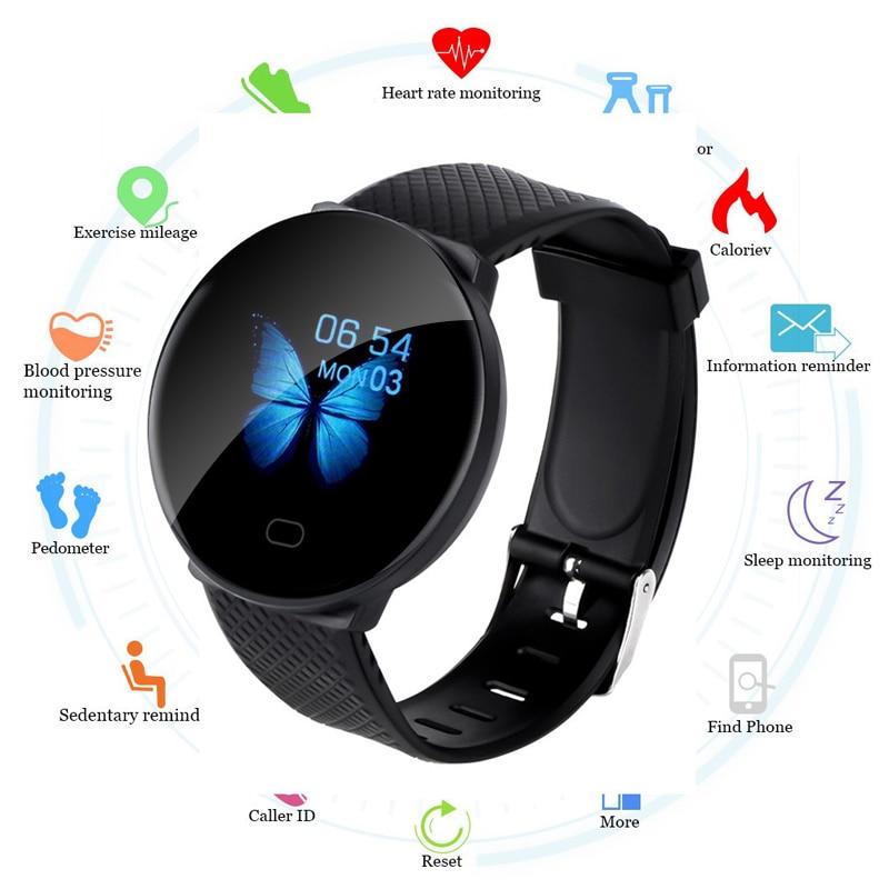 D19 2020 Men Smartwatch Sport Pedometer Smart Watch Round Bluetooth Fitness Tracker Blood Pressure Women Clock for Android IOS