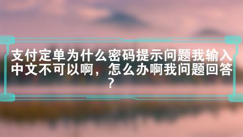 支付定单为什么密码提示问题我输入中文不可以啊,怎么办啊我问题回答?