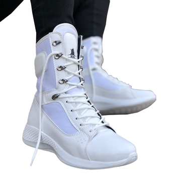 White high quality 100% vegan leather men boots. Shoe boot, sneaker boot, chaussure boot, uomo boot, young man boots, fashion