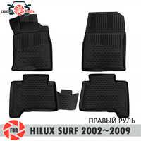 Boden matten für Toyota Hilux Surf 2002 ~ 2009 teppiche non slip polyurethan schmutz schutz innen auto styling zubehör