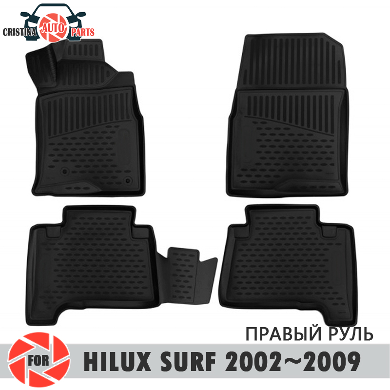 Floor mats for Toyota Hilux Surf 2002~2009 rugs non slip polyurethane dirt protection interior car styling accessories free shipping tailgate straps rock warrior graphic vinyl car sticker for toyota hilux revo vigo pickup accessories