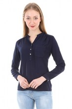 Women's Crew Neck Single Pocket Navy Blue Shirt 3444