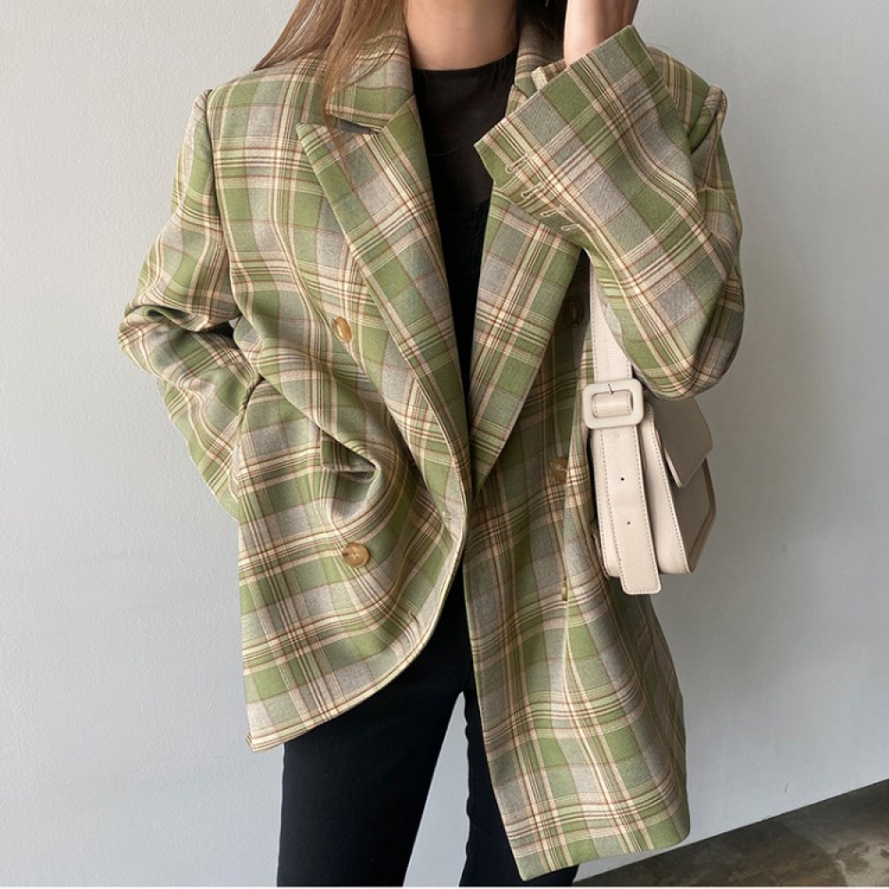 Vintage Plaid Suits Blazer Women New 2020 Autumn Winter Fashion Double Breasted Pockets Casual Loose Ladies Suits Blazer Coats