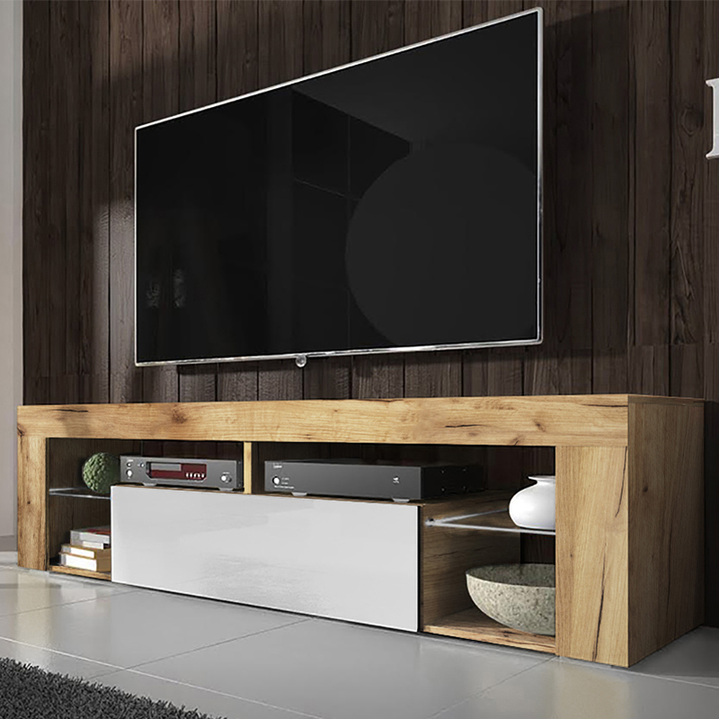 SELSEY BIANKO - meuble TV moderne (140 cm, chêne Lancaster/ blanc brillant - sans LED)