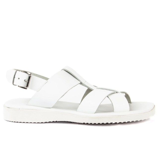 Sail-Lakers White Leather Male Sandals