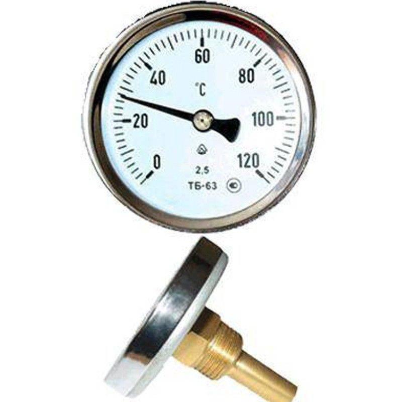 Thermometer Bimetallic (axial) 0-120c, D63, L50