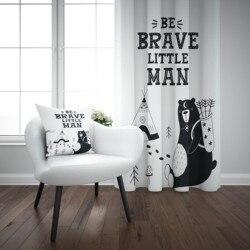 Mais preto branco bravo homem ursos animal 3d impressão crianças bebê painel da janela conjunto cortina combinar presente travesseiro caso