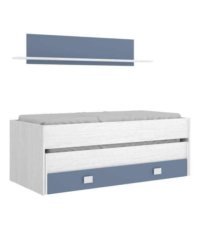 Bed Compact 2 Drawers And Shelf Various Colors.