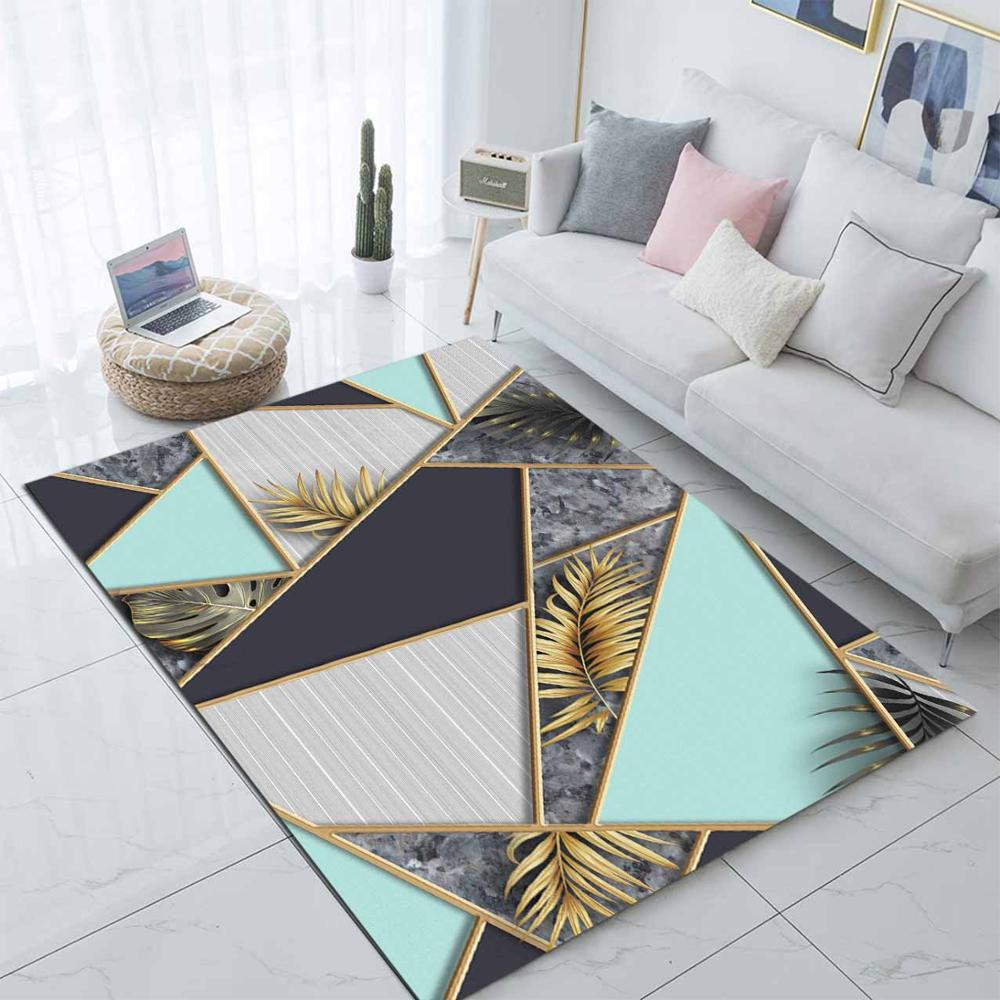 Else Golden Leaves On Blue Gray Marble Stones 3d Print Non Slip Microfiber Living Room Decorative Modern Washable Area Rug Mat