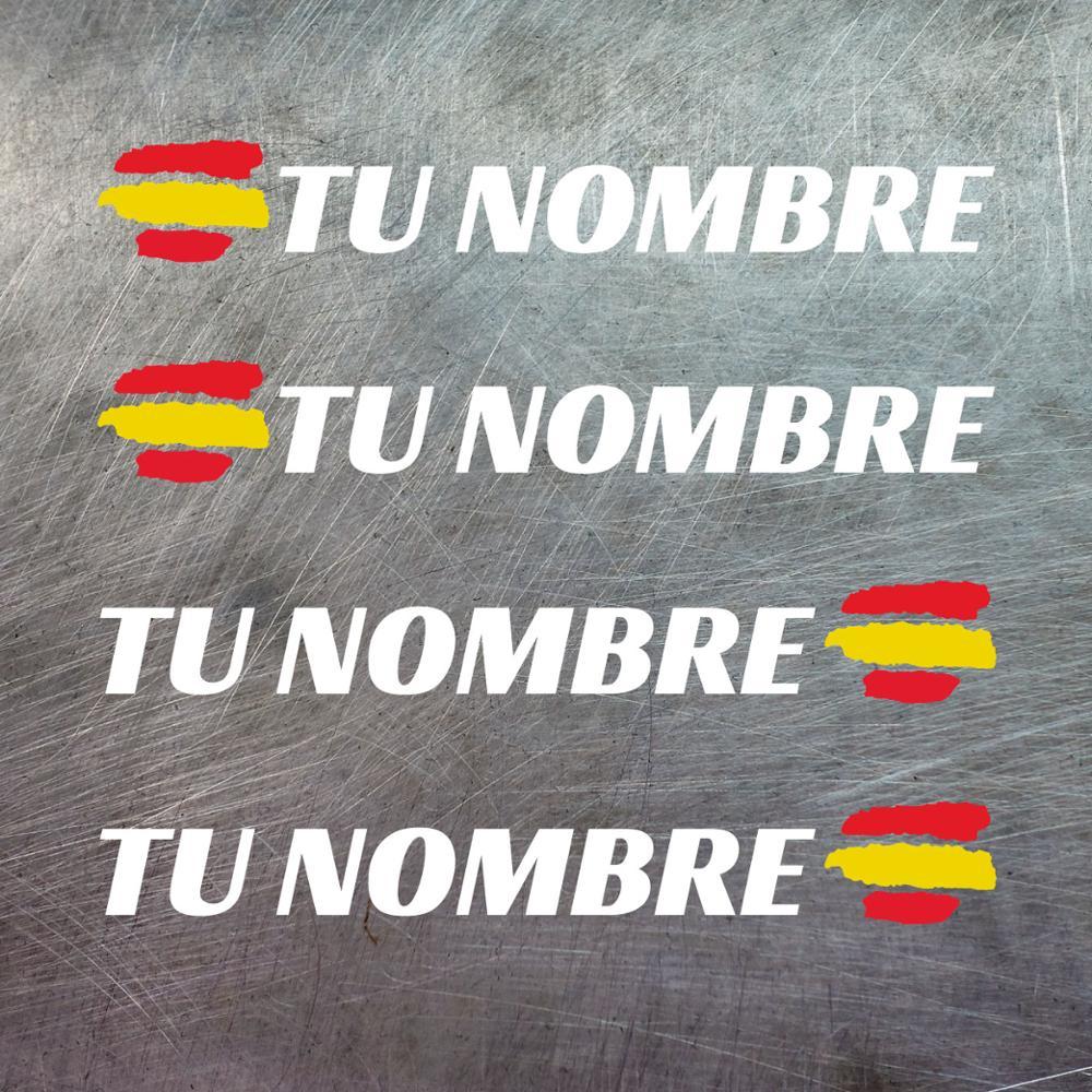 4 X espagne drapeau nom pare-chocs vinyle casque vtt vélo personnalisable