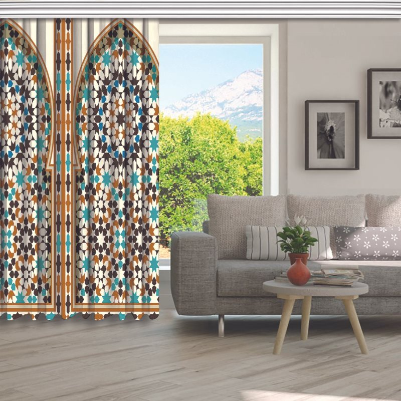 Arabic Arch Traditional Islamic Architecture Classic Exterior Decorating Element Brown Blue White Curtain