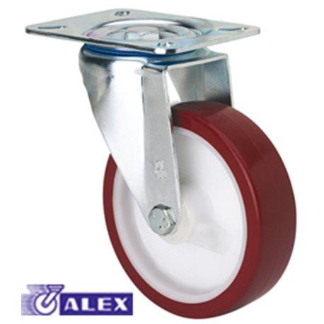 ROTATING WHEEL C/BRAKE 080MM 2-2354 PL.105X080 100 KG. SMOOTH PU B/R ZV P