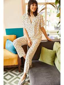Ola Women Multi Color Polka Dot Viscose Pajamas set TKM-19000053