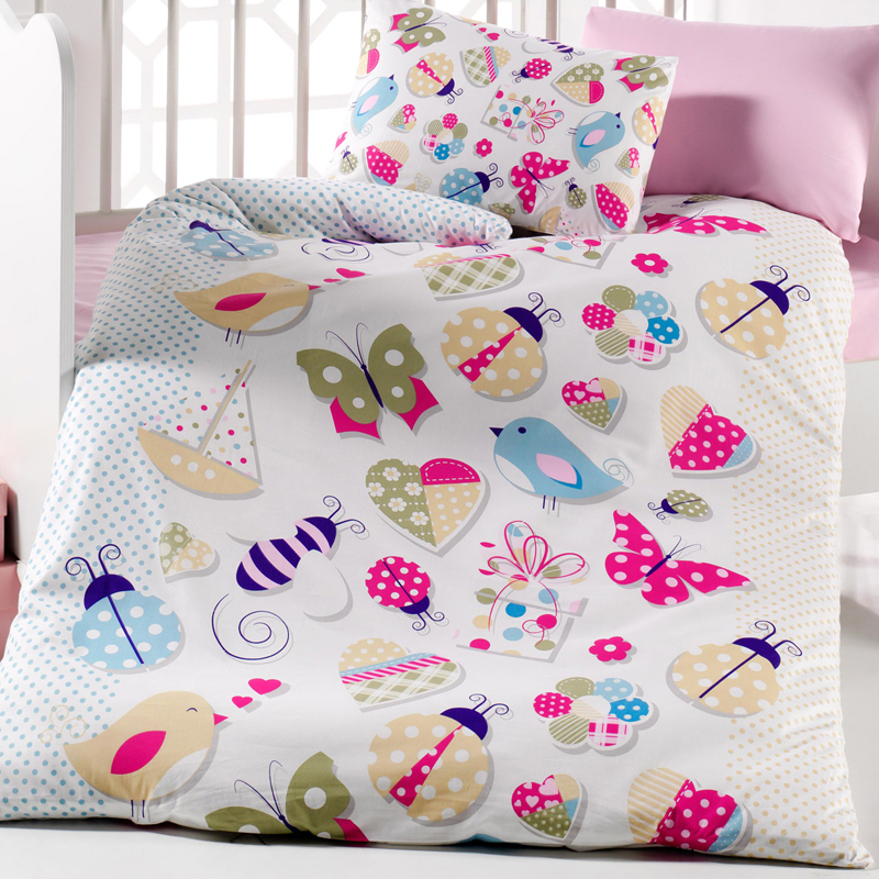 Lady Moda Butterfly 4 Pcs Baby Bedding Set 100x150 Cm Crib Bedding Set 100% Cotton Cartoon Baby Bed Linen Set From Turkey
