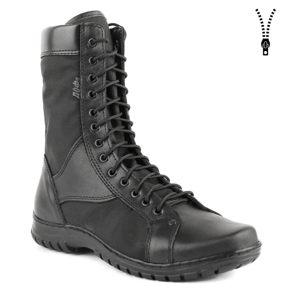 Summer Genuine Leather Lace-up Black Ankle Boots Men High Shoes Flat Military Boots Made In Russia 0054/22 WA