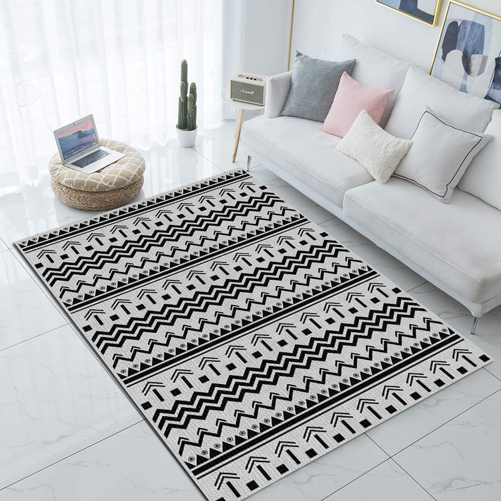 Else Black Gray Geometric Bohemian Nordec 3d Print Non Slip Microfiber Living Room Decorative Modern Washable Area Rug Mat
