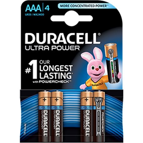 ALKALINE Battery LR03 AAA 1,5V ULTRA POWER DURACELL 4 PZ