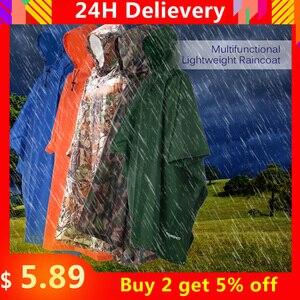 3 in 1 Raincoat Backpack Rain Cover Rain Coat Hood Hiking Cycling Rain Cover Poncho Raincoat Waterproof Outdoor Camping Tent Mat