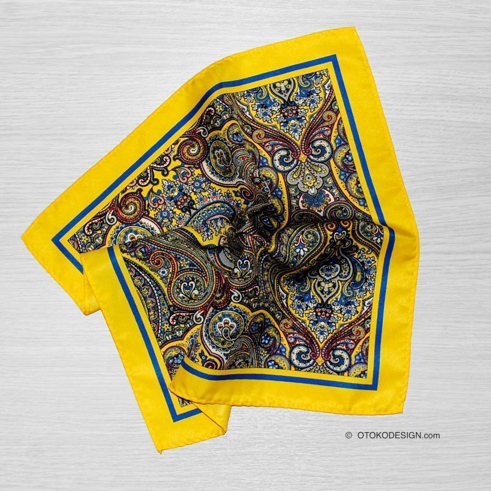 Silk Jacket Pocket Square Yellow Patterned (51839)