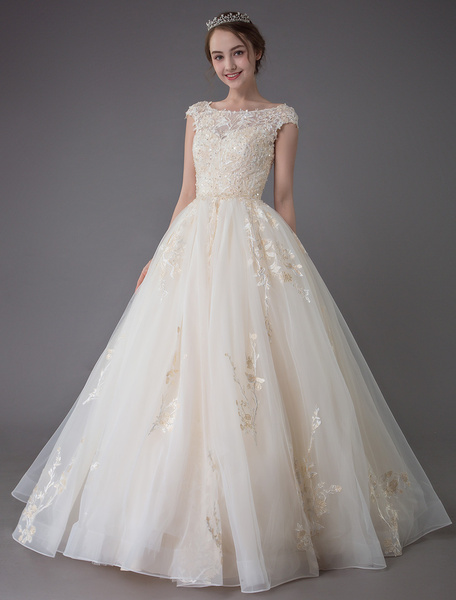 Wedding Dresses Princess Ball Gowns Champagne Lace Applique Beaded Colored Maxi Bridal Dress